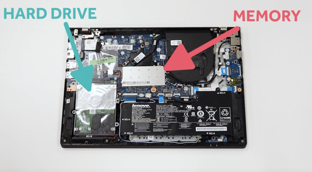 Harddrive, Memory, SSD, back of laptop